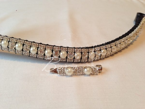 """Curved 1/2"""" Preciosa Crystal Browband: Clear/Pearl (Silver casing) 6mm, and Clear (Silver casing) 3mm. Shown here with a matching stock pin."""
