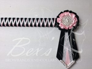 "3/4"" Ribbon Show Browband: Black velvet narrow shark tooth with Light Pink satin and Silver metallic lame zig zag. Pleated rosettes with plain Silver crystal centre. V Shaped tails with Silver crystal flag tips."