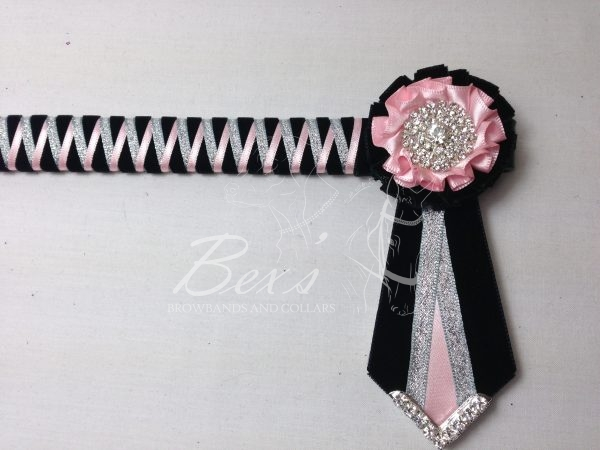 """3/4"""" Ribbon Show Browband: Black velvet narrow shark tooth with Light Pink satin and Silver metallic lame zig zag. Pleated rosettes with plain Silver crystal centre. V Shaped tails with Silver crystal flag tips."""