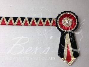 "3/4"" Ribbon Show Browband: Black velvet and Red satin wide shark tooth with Gold metallic lame zig zag. Pleated rosettes with Gold crystal/pearl single row crystal rings and plain centres. V Shaped tails with Gold crystal flag tips."