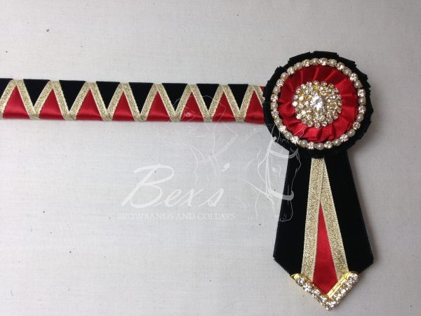 """3/4"""" Ribbon Show Browband: Black velvet and Red satin wide shark tooth with Gold metallic lame zig zag. Pleated rosettes with Gold crystal/pearl single row crystal rings and plain centres. V Shaped tails with Gold crystal flag tips."""