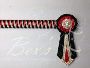 "3/4"" Ribbon Show Browband: Black velvet narrow shark tooth with Red satin and Gold metallic lame zig zag. Pleated rosettes with plain Gold crystal centre. V Shaped tails with Gold crystal flag tips."