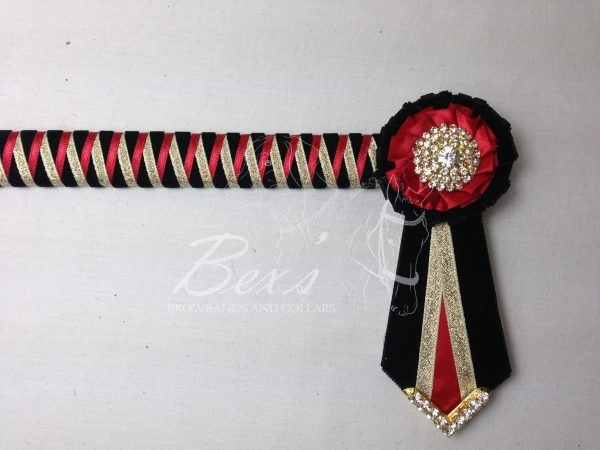 """3/4"""" Ribbon Show Browband: Black velvet narrow shark tooth with Red satin and Gold metallic lame zig zag. Pleated rosettes with plain Gold crystal centre. V Shaped tails with Gold crystal flag tips."""