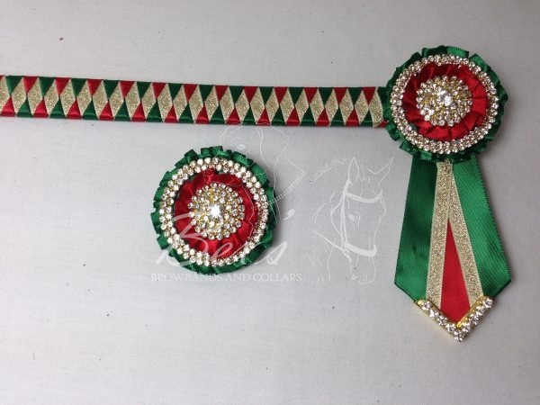 "3/4"" Ribbon Show Browband: Emerald and Red satin and Gold metallic lame narrow diamond. Pleated rosettes with plain Gold double row rings and plain centres. V Shaped tails with Gold crystal flag tips. Shown here with a matching buttonhole."