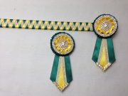 """3/4"""" Ribbon Show Browband: Bottle Green and Daffodil satin and Gold metallic lame narrow diamond. Pleated rosettes with plain Gold double row rings and plain centres. V Shaped tails with Gold crystal flag tips. Shown here with removable rosettes."""