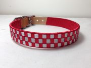 Ribbon Leather Dog Collar: Red and White satin with Silver metallic lame 3 row Checkered pattern