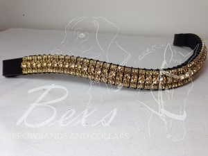 "Curved 3/4"" Preciosa Crystal Browband: Light Colorado Topaz 6mm, Smoked Topaz 3mm and Light Colorado Topaz 3mm."