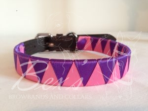 Ribbon Leather Dog Collar: Hot Pink and Regal Purple satin shark tooth
