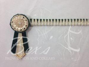 "3/4"" Ribbon Show Browband: Bottle Green velvet and Cream satin narrow shark tooth and Gold metallic lame zig zag. Pleated rosettes with Gold crystal/pearl single row ring and plain Gold crystal centre. V Shaped tails with Gold crystal flag tips."