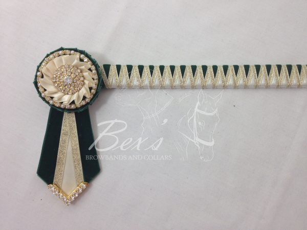 """3/4"""" Ribbon Show Browband: Bottle Green velvet and Cream satin narrow shark tooth and Gold metallic lame zig zag. Pleated rosettes with Gold crystal/pearl single row ring and plain Gold crystal centre. V Shaped tails with Gold crystal flag tips."""