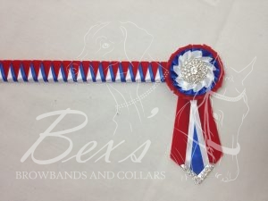 "3/4"" Ribbon Show Browband: Red velvet, Royal and White satin narrow double shark tooth. Pleated rosettes with plain Silver centres. V shaped rosette tails with Silver crystal flag tips. Shown here with a matching buttonhole."