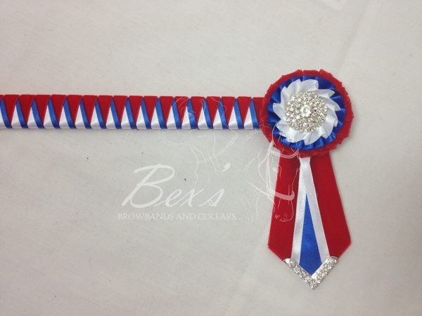"""3/4"""" Ribbon Show Browband: Red velvet, Royal and White satin narrow double shark tooth. Pleated rosettes with plain Silver centres. V shaped rosette tails with Silver crystal flag tips. Shown here with a matching buttonhole."""