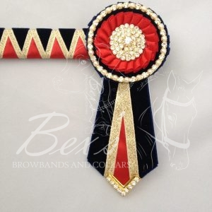 "3/4"" Ribbon Show Browband: Navy velvet and Red satin wide shark tooth with Gold metallic lame zig zag. Pleated rosettes with Gold crystal/pearl single row crystal rings and plain centres. V Shaped tails with Gold crystal flag tips."