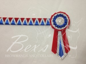 "3/4"" Ribbon Show Browband: Red velvet and Royal satin wide shark tooth with Silver metallic lame zig zag. Pleated rosettes with plain Silver double row crystal rings and plain centres. V Shaped tails with Silver crystal flag tips."