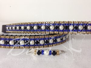 "Straight 3/4"" Preciosa Crystal Browband: Jet/Pearl 6mm, Sapphire 3mm and Topaz 3mm."