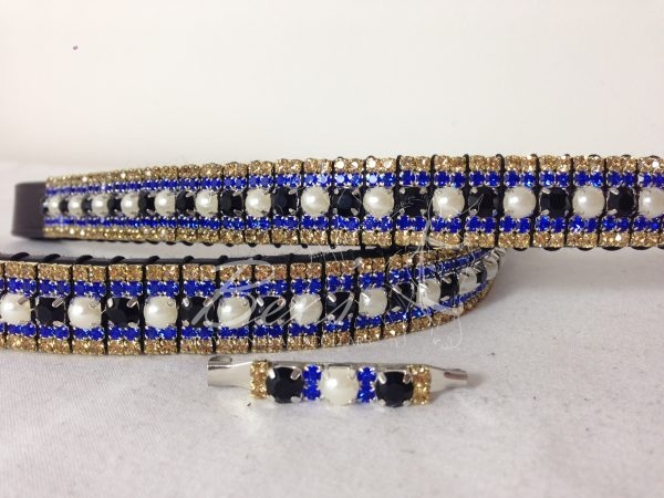 """Straight 3/4"""" Preciosa Crystal Browband: Jet/Pearl 6mm, Sapphire 3mm and Topaz 3mm."""