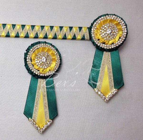 "3/4"" Ribbon Show Browband: Bottle Green and Daffodil satin and Gold metallic lame narrow diamond. Pleated rosettes with plain Gold double row rings and plain centres. V Shaped tails with Gold crystal flag tips. Shown here with removable rosettes."