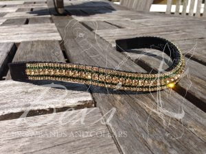 "Curved 3/4"" Preciosa Crystal Browband: Light Colorado Topaz 6mm, Emerald 3mm and Light Colorado Topaz 3mm."
