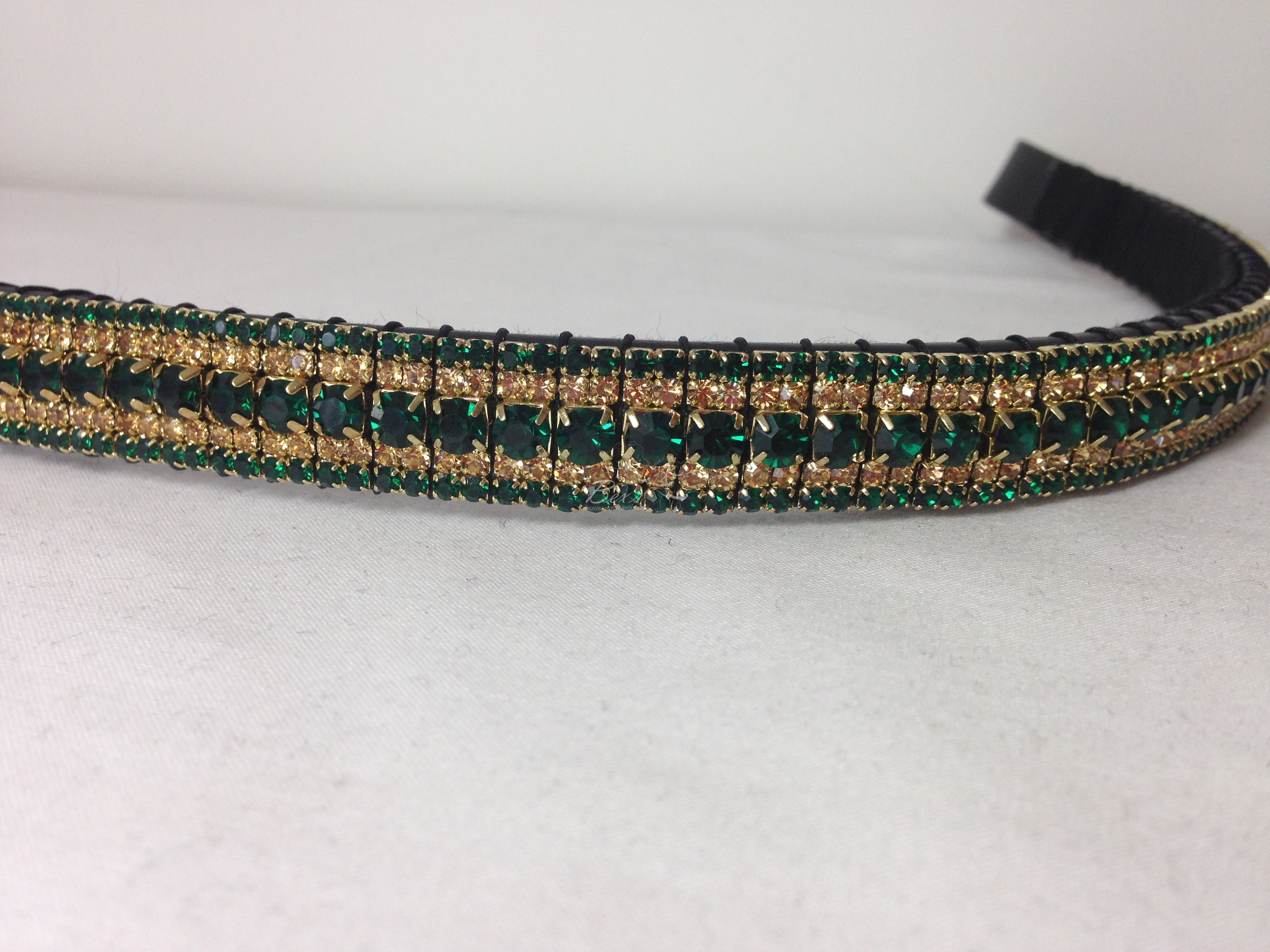 "Straight 3/4"" Preciosa Crystal Browband: Emerald 6mm, Light Colorado Topaz 3mm and Emerald 3mm."
