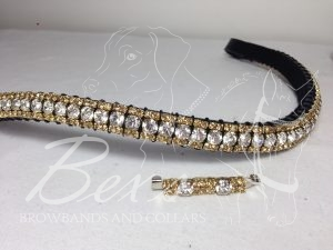 """Curved 1/2"""" Preciosa Crystal Browband: Clear (Gold casing) 6mm, and Light Colorado Topaz 3mm. Shown here with a matching stock pin."""