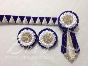 """3/4"""" Ribbon Show Browband: Purple velvet, Gold metallic lame and White satin wide double shark tooth. Pleated rosettes with plain Gold crystal centre. V Shaped tails with Gold crystal flag tips. Shown here with two matching buttonholes."""