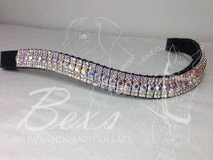 "Curved 3/4"" Preciosa Crystal Browband: All Crystal AB"