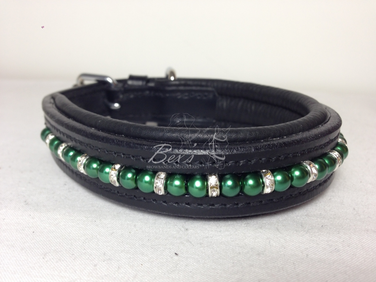 Beaded Dog Collar: Dark Green pearls with Silver straight rhinestone spacers