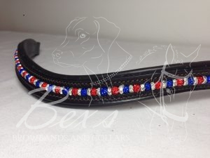 Curved Shamballa Beaded Browband: Sapphire and Red shamballa beads with Silver straight rhinestone spacers