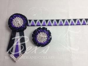 "3/4"" Ribbon Show Browband: Regal Purple and Black satin wide shark tooth with Silver metallic lame zig zag. Pleated rosettes with plain Silver crystal centres. V Shaped tails with Silver crystal flag tips. Shown here with a matching buttonhole."