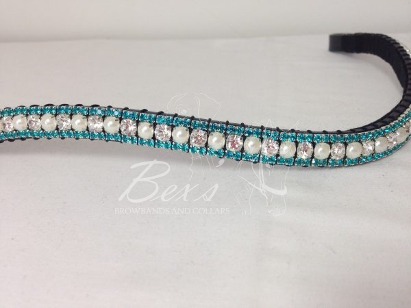 """Curved 1/2"""" Preciosa Crystal Browband: Clear/Pearl (Silver casing) 6mm, and Aquamarine 3mm."""