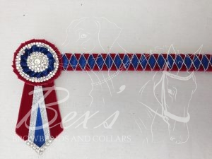 """3/4"""" Ribbon Show Browband: Scarlet velvet, Light Navy satin and Silver cord wide diamond outline. Pleated rosettes with plain Silver double row crystal rings and plain centres. V shaped rosette tails with Silver crystal flag tips."""