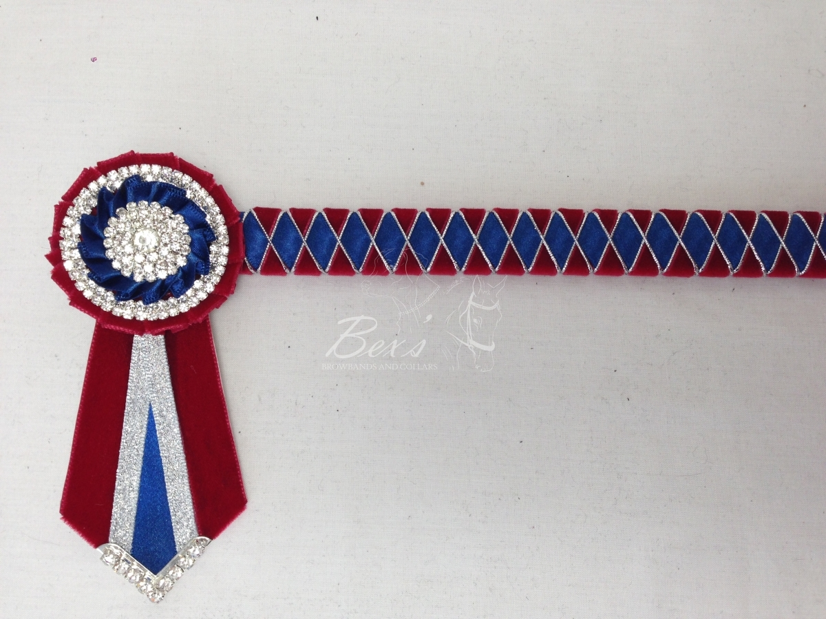 "3/4"" Ribbon Show Browband: Scarlet velvet, Light Navy satin and Silver cord wide diamond outline. Pleated rosettes with plain Silver double row crystal rings and plain centres. V shaped rosette tails with Silver crystal flag tips."