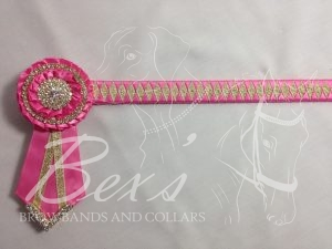 "3/4"" Ribbon Show Browband: Hot Pink satin and Gold metallic lame narrow diamond. Pleated rosettes with plain Gold double row rings and plain centres. V Shaped tails with Gold crystal flag tips."