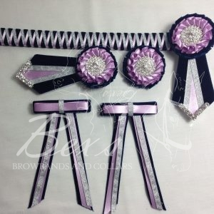 "3/4"" Ribbon Show Browband: Purple velvet narrow shark tooth with Light Orchid satin and Silver metallic lame zig zag. Pleated rosettes with plain Silver crystal centre. V Shaped tails with Silver crystal flag tips. Shown here with removable rosettes, macthing buttonhole and double large hair bows"
