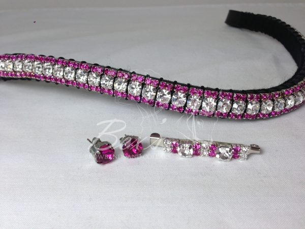 """Curved 1/2"""" Preciosa Crystal Browband: Clear (Silver casing) 6mm, and Fuchsia 3mm.  Shown with a matching stock pin and earrings."""