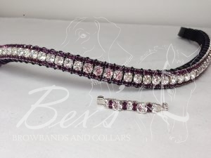 "Curved 1/2"" Preciosa Crystal Browband: Clear (Silver casing) 6mm, and Amethyst 3mm.  Shown with a matching stock pin."