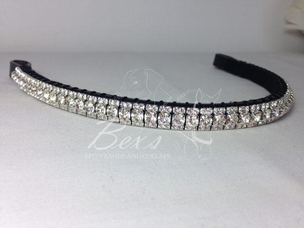 "Straight 1/2"" Preciosa Crystal Browband: Clear (Silver casing) 6mm, and Clear (Silver casing) 3mm."