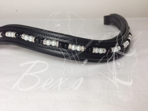 Curved Double Pearl Beaded Browband: Black and White pearls, Silver straight rhinestone spacers