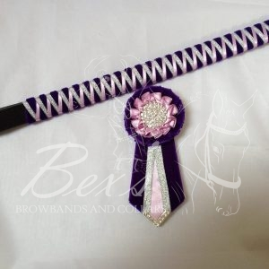 """3/4"""" Ribbon Show Browband: Purple velvet narrow shark tooth with Light Orchid satin and Silver metallic lame zig zag. Pleated rosettes with plain Silver crystal centre. V Shaped tails with Silver crystal flag tips. Shown here with removable rosettes."""