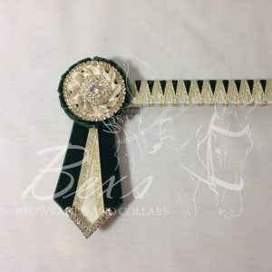 "3/4"" Ribbon Show Browband: Bottle Green velvet and Cream satin narrow shark tooth and Gold metallic lame zig zag. Pleated rosettes with plain Gold double row crystal rings and plain centres. V Shaped tails with Gold crystal flag tips"