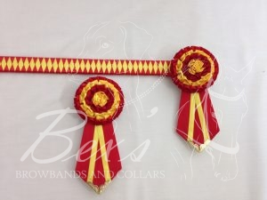 """3/4"""" Ribbon Show Browband: Red and Daffodil satin narrow diamond. Pleated rosettes with fabric rose centre. V Shaped tails with Gold patterned flag tips. Shown here with removable rosettes."""