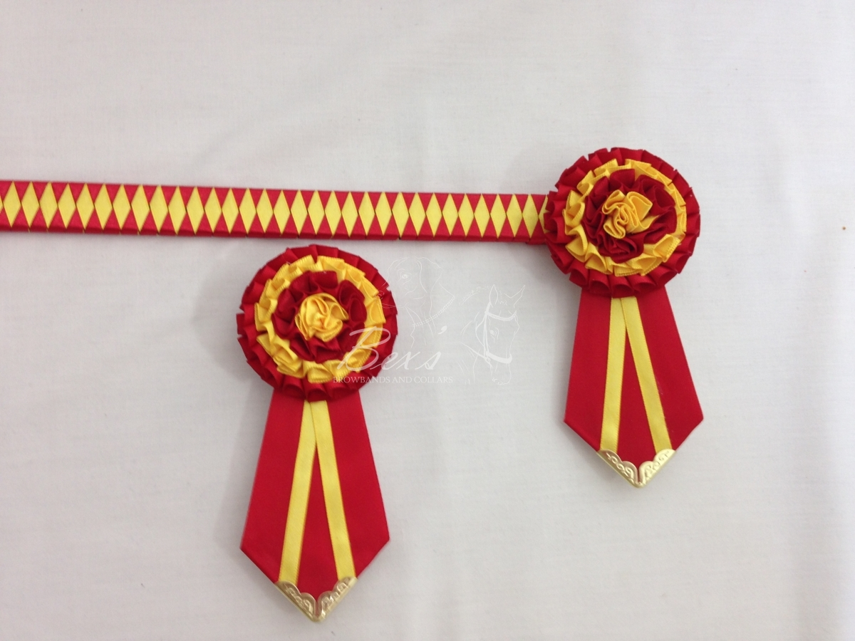 "3/4"" Ribbon Show Browband: Red and Daffodil satin narrow diamond. Pleated rosettes with fabric rose centre. V Shaped tails with Gold patterned flag tips. Shown here with removable rosettes."
