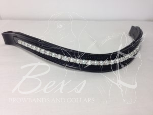 Curved Single Pearl Beaded Browband: White pearls, Silver straight rhinestone spacers