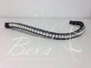 "Curved 1/2"" Preciosa Crystal Browband: Opal 6mm, and Montana 3mm."