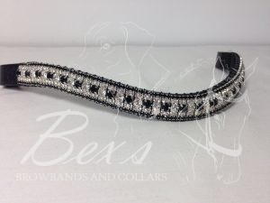"Curved 3/4"" Preciosa Crystal Browband: Clear/Jet 6mm, Clear (Silver casing) 3mm and Jet 3mm."