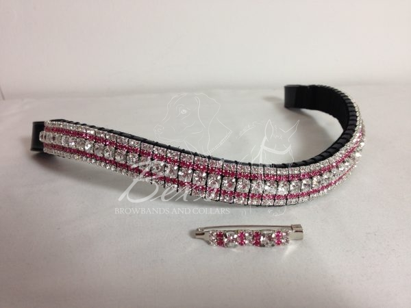 "Curved 3/4"" Preciosa Crystal Browband: Clear (Silver casing) 6mm, Light Rose 3mm and Clear (Silver casing) 3mm. Shown here with a matching stock pin."