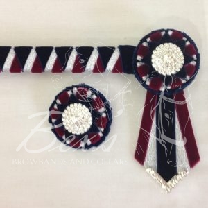 "3/4"" Ribbon Show Browband: Navy velvet, Silver metallic lame and Bordeaux velvet wide double shark tooth. Combination rosettes with plain Silver crystal centre. V Shaped tails with Silver crystal flag tips. Shown here with a matching buttonhole."