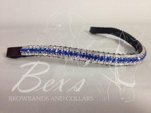 """Curved 1/2"""" Preciosa Crystal Browband: Sapphire 6mm, and Clear (Silver casing) 3mm."""
