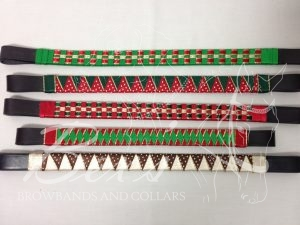 Christmas Browbands: Top: Emerald satin, Red/Gold metallic edge satin and Gold metallic lame 3 row checkered 2nd down: Hunter/Gold metallic edge satin and Red/White polka dot satin shark tooth 3rd down: Red satin, Hunter/Gold metallic edge satin and Gold metallic lame 3 row checkered 4th down: Red/Gold metallic edge satin and Emerald narrow diamond Bottom: Cream/Gold metallic edge satin and Brown/White polka dot satin shark tooth