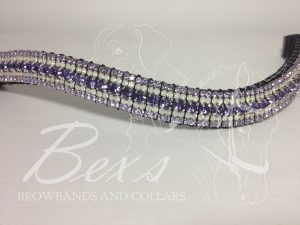 "Curved 3/4"" Preciosa Crystal Browband: Deep Tanzanite 6mm, Opal 3mm and Violet 3mm."